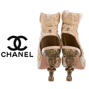 Very Unique Chanel Brocade Ankle Boots 9